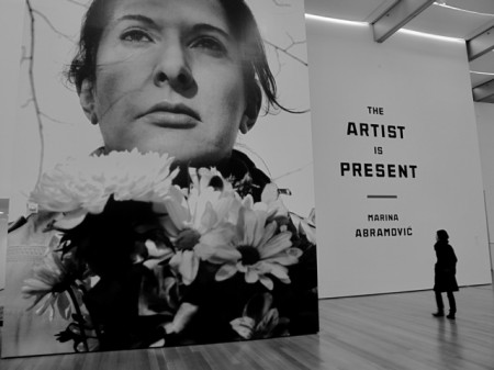 Marina-Abramovic-The-Artist-is-Present-2001-MoMA-installation-view-Portrait-with-Flowers-2009-e1350974182265